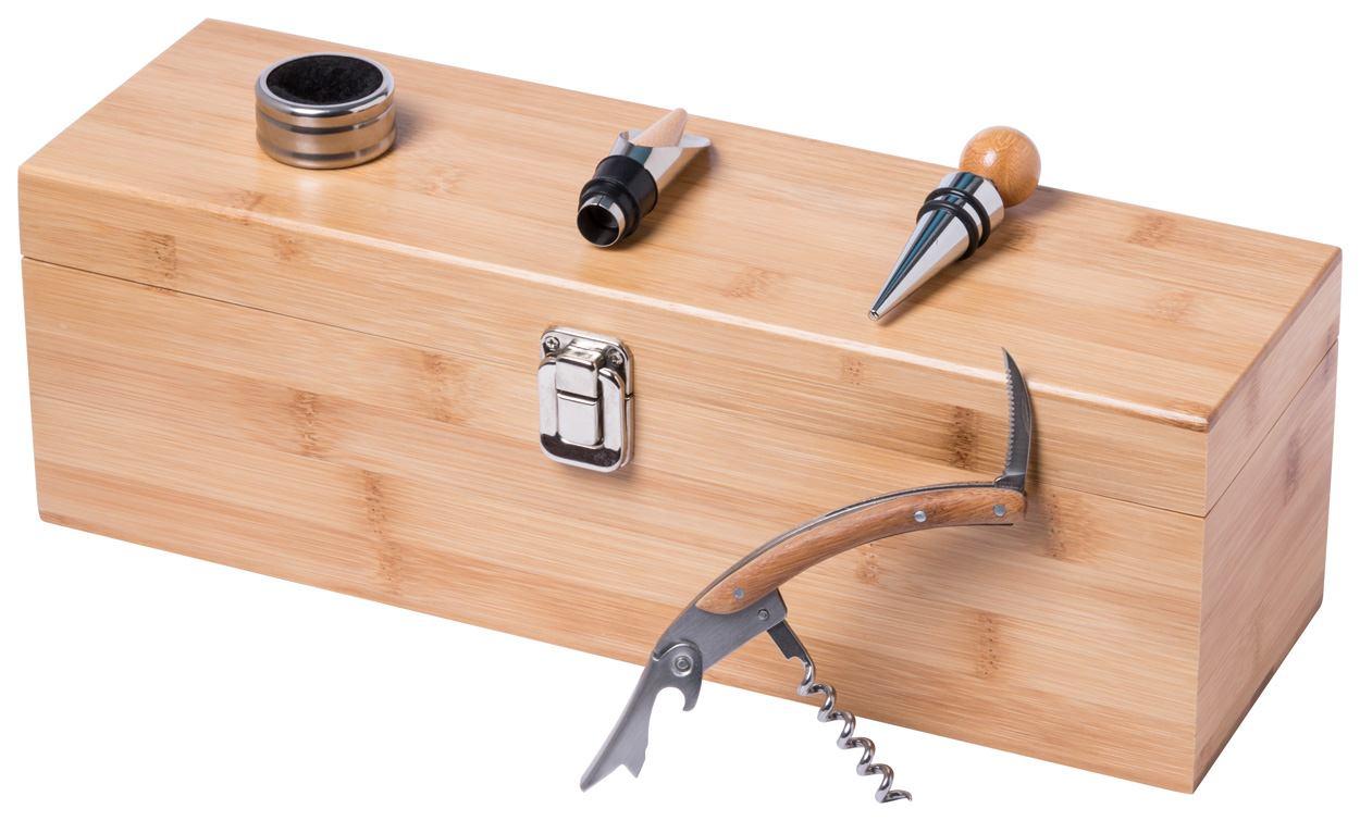 Boriax, Set za vino od bambusa s plutenim čepom, lijevkom, mlaznicom i zatvaračem